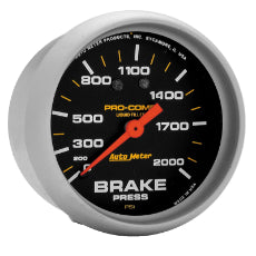 Pro-Comp Series Brake Pressure Gauge 2-5/8'', Liquid Filled Mechanical, 0-2000 psi