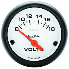 Phantom Series Voltmeter Gauge 2-1/16'', Short Sweep Electric, 8-18 volts