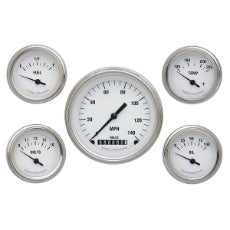 White Hot 5 Gauge Set Kit Includes 3-3/8'' KPH Speedo With 2-1/8'' Accessories Gauges, Curved Glass