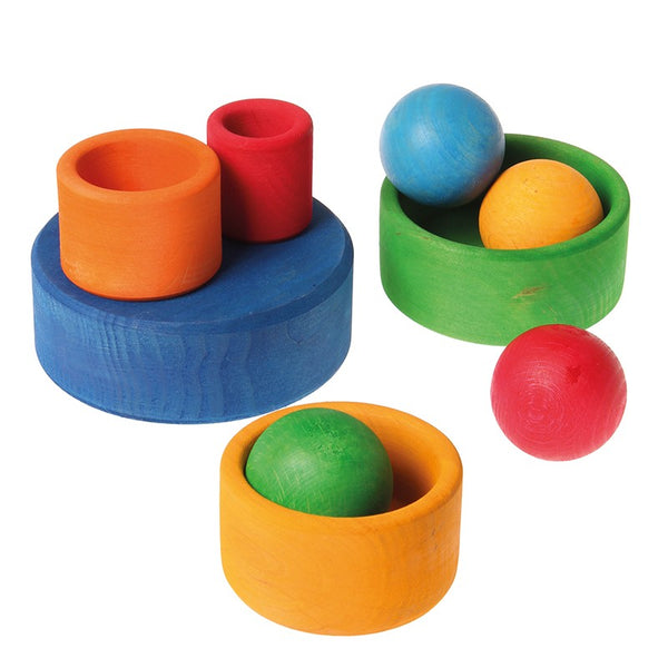 Grimm's Rainbow Stacking Bowls-Blue