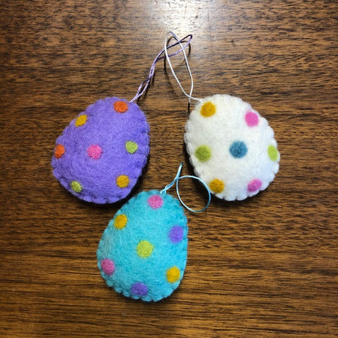 Felted Egg Hanging Decoration Set of 3