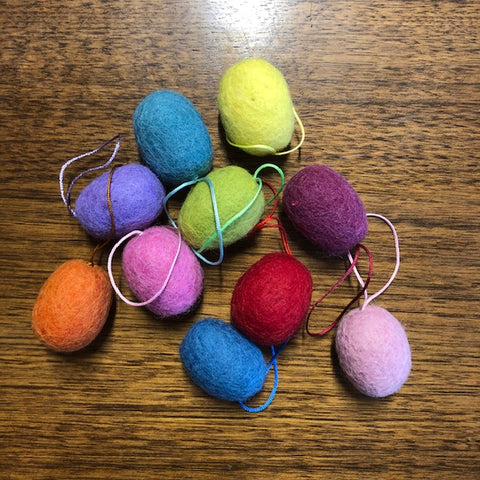 Felted Egg Hanging Decorations Rainbow Set of 10