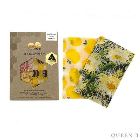 Queen B Beeswax Wraps Medium x2- Coloured