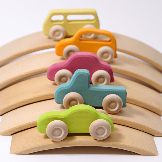 Grimm's Slimline Wooden Cars Set of 5