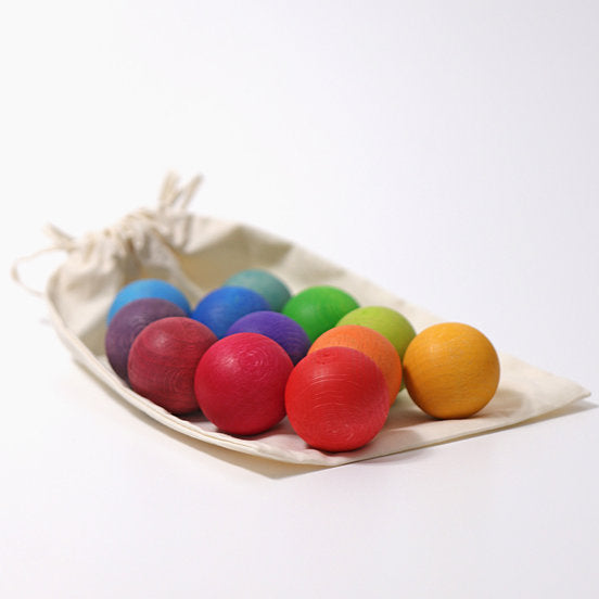 Grimm's Wooden Rainbow Balls in Bag