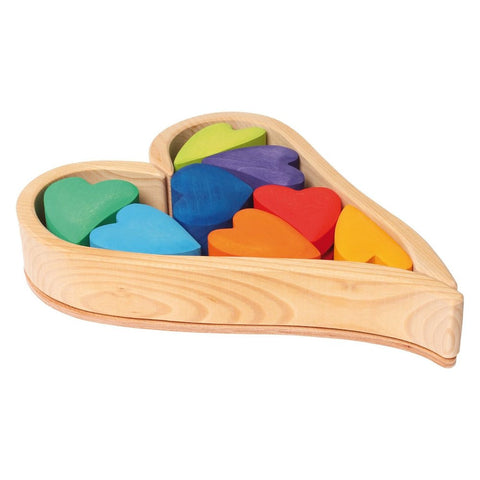 Grimm's Wooden Heart Shaped Blocks-Rainbow