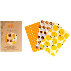 Queen B Beeswax Wraps Medium x3- Coloured