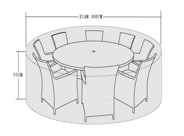 300cm Cover for 8-10 Seater Dining Set