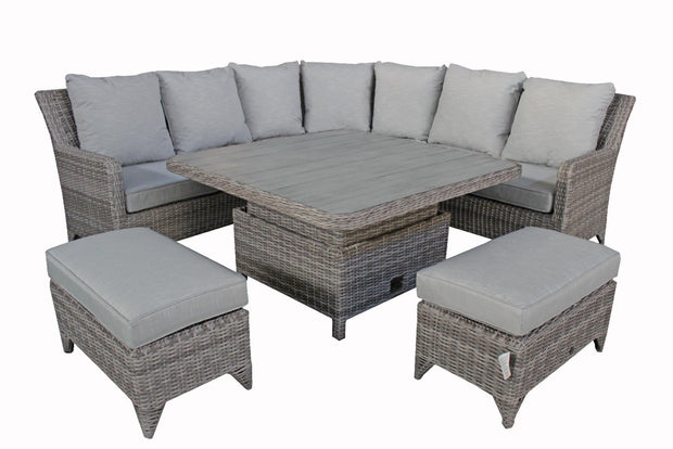 Sarah Corner Dining Sofa Set Silver Grey