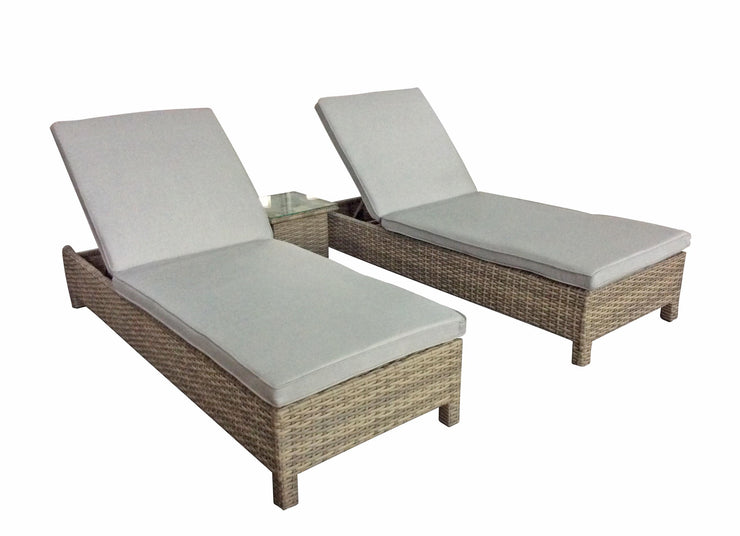 Pair of Serena Sun Loungers (Half Round Nature Weave)