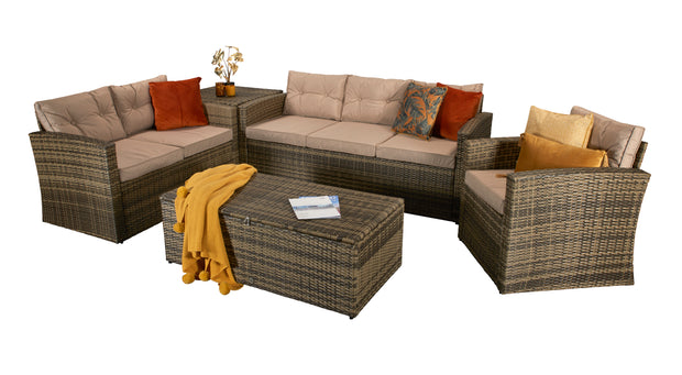 Aria Five Piece Sofa Set in Mixed Brown Steel Frame