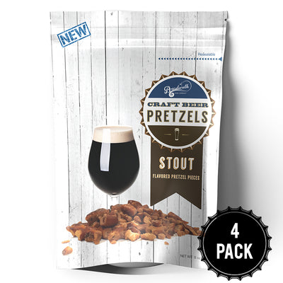 STOUT FLAVORED CRAFT BEER PRETZELS 8OZ(PACK OF 4)