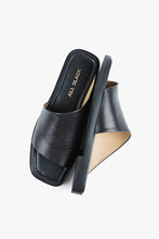 Load image into Gallery viewer, ANGLE SLIDE SANDAL Black Leather Sandal
