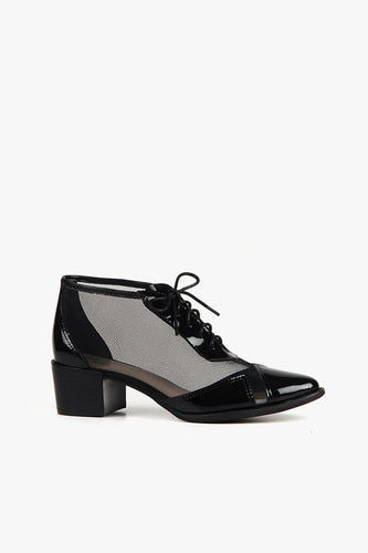 MESH DAME Lace Up Black Shoe