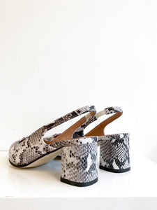 EXOTIC SLING Snakeskin Embossed Leather Slingback