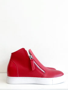 HI-DOUBLE ZIP PERF Red Perforated Leather High Top Sneaker