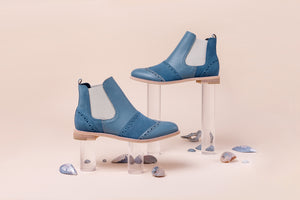 MEDITERRANEAN SEA Blue Leather Chelsea Boots