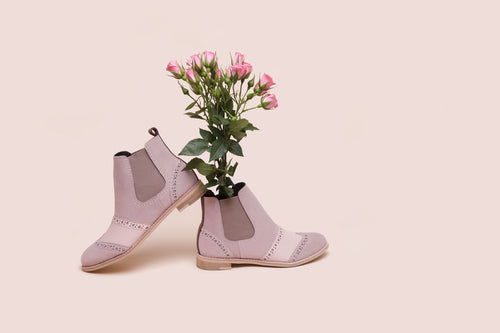 Pink perforated suede with beige elastic, slip-on Chelsea Boot.