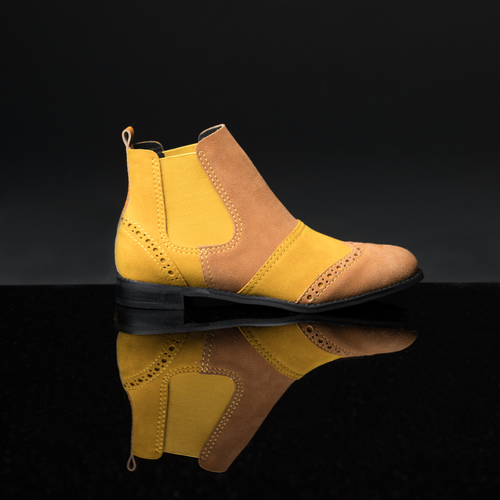 ENGLISH MUSTARD Yellow Suede Chelsea Boots