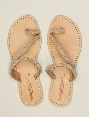 DIANI Silver Flat Leather Sandal