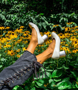 GARDENIA Cream Leather Pump