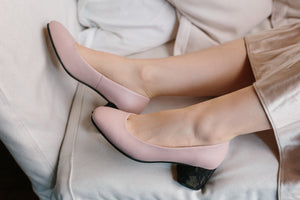 SWEET PEA Pink Leather Pumps