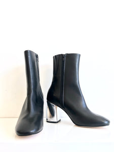 ADRIANNE Block Heel Boots in Black Leather