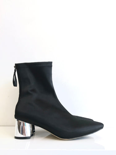 URBAN SATIN Black Ankle Boot with Silver Heel