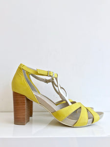 JANE - Yellow Leather Peep-Toe Sandal