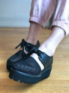 AMAZING FLATFORM SANDAL Black Mesh And Leather Lace-Up