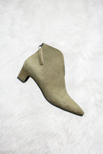 Load image into Gallery viewer, Olive green suede boots.