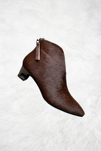 Deep rich brown pony hair boots.
