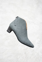 Load image into Gallery viewer, Grey suede boots with a grey leather heels.