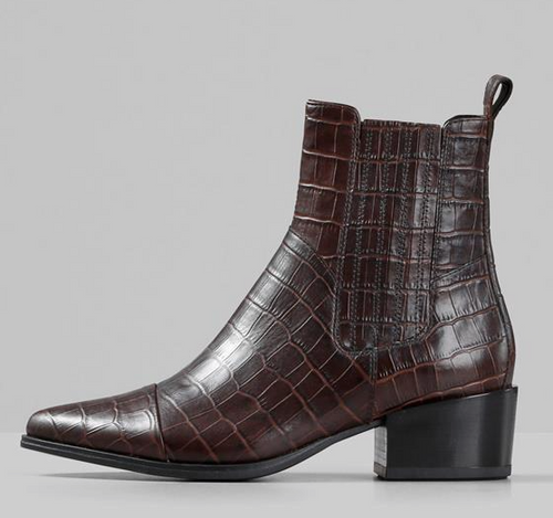 MARJA Brown Croc Leather Ankle Boot