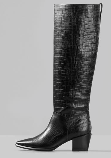 BETSY Knee High Croc-Embossed Leather Boot