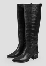 Load image into Gallery viewer, BETSY Knee High Croc-Embossed Leather Boot