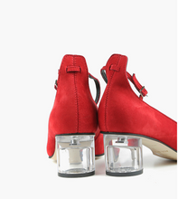 Load image into Gallery viewer, CLASSY CYLINDER PUMP Red Suede Heel