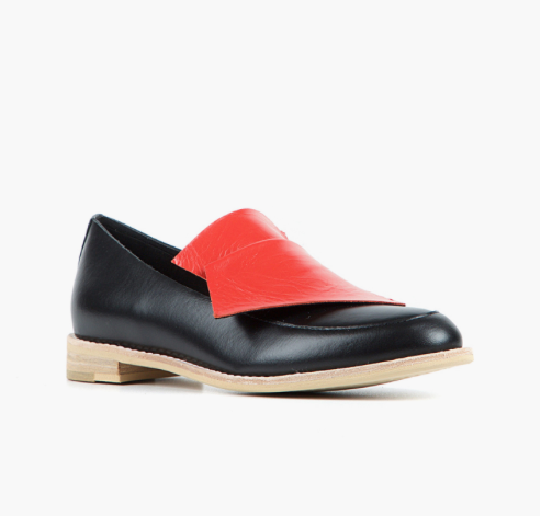 FLATBOW COWMAN LOAFER Black and Red Leather Slip-On Loafer