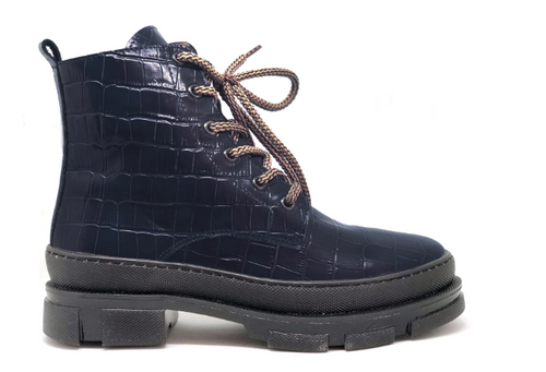 CONNIE NAVY Croc Leather Chunky Biker Boot