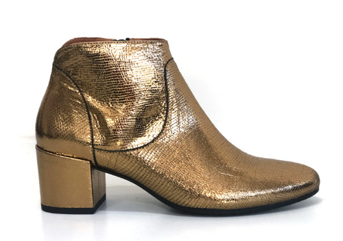 KIANA BRONZE Leather Ankle Boot