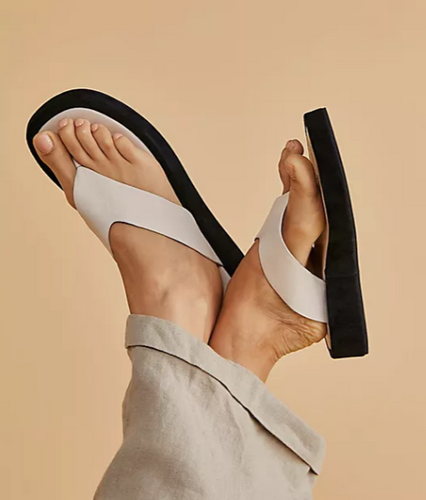 ASTRID White Leather Platform Thong Sandal