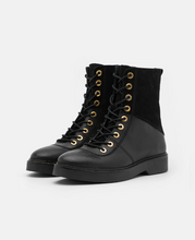 Load image into Gallery viewer, BILLIE HIGH Black Leather & Suede Lace-Up Boot