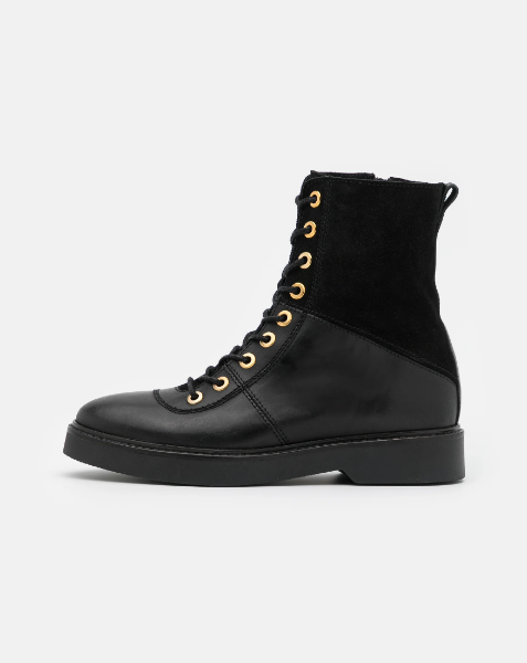 BILLIE HIGH Black Leather & Suede Lace-Up Boot