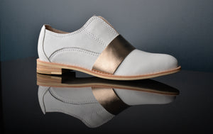 SUNLIGHT White Leather & Gold Oxfords