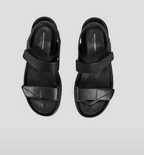 Load image into Gallery viewer, ERIN Black Leather Chunky Sports Sandal