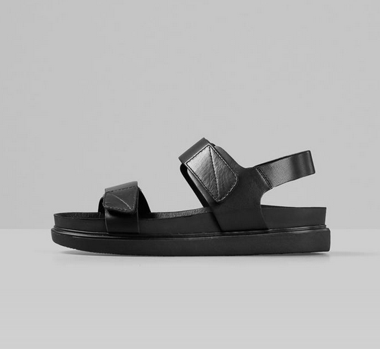 ERIN Black Leather Chunky Sports Sandal