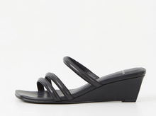 Load image into Gallery viewer, NELLIE Black Leather Heeled Sandal