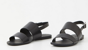 TIA Black Leather Strap Sandal
