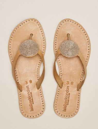DOLI Silver Flat Leather Sandal