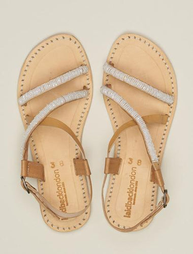 AZARI Flat Leather Sandal Snow White